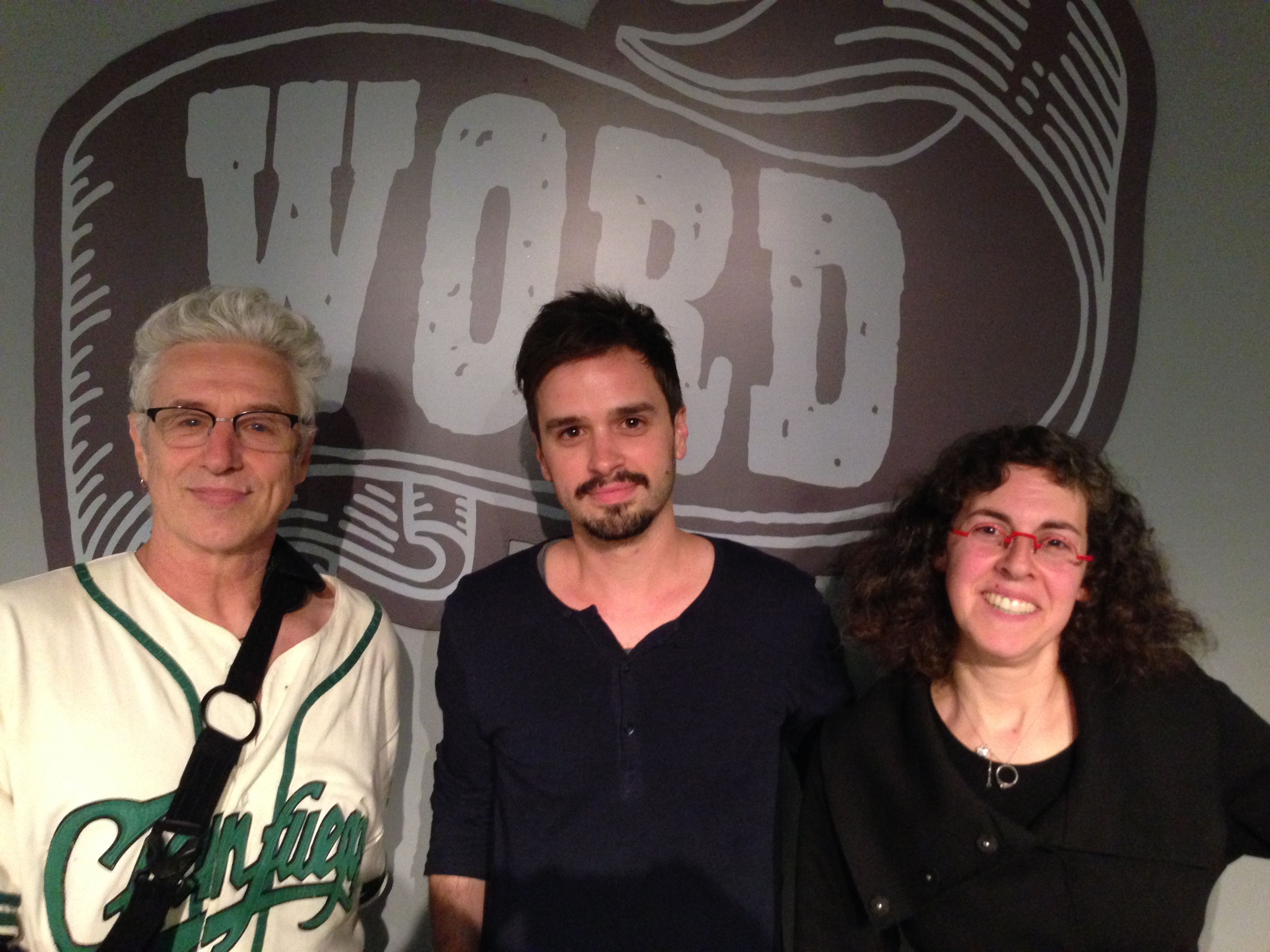 Pitchapalooza winner Val Emmich, David Henry Sterry, and Arielle Eckstut at Word Bookstore