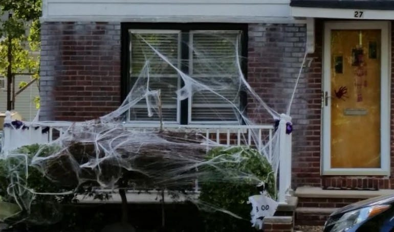 halloween house with webs and blood